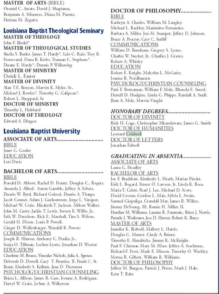 Louisiana Baptist University - Honorary awards list. No background check necessary!