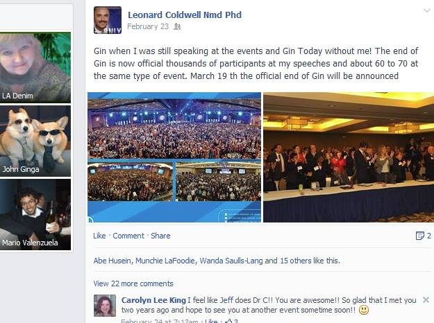 Coldwell thinks he's the reason people stopped going to events! Buwahaha!