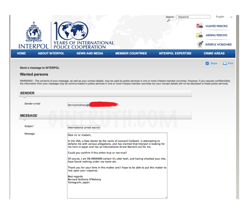 Contacted Interpol personally.