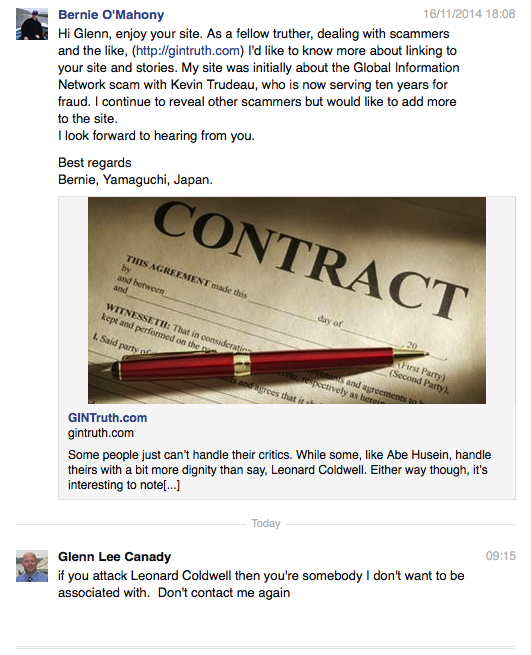 Canady responds to my link up request. Has a fondness for Leonard Coldwell!