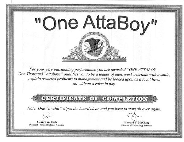 Here ya go Lenny! Add this one to your other fake diplomas!