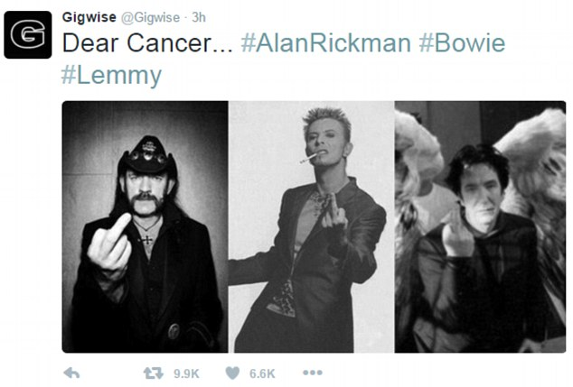 Lemmy, Bowie & Rickman - One Finger Salute to Cancer. Click for full story.