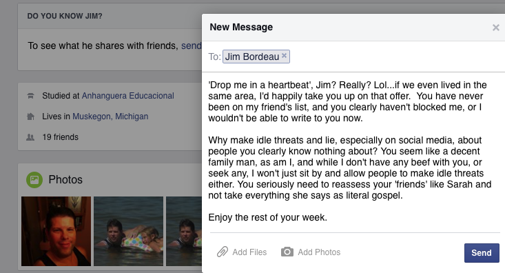 Since posting this message, Jim has blocked me...I'm so sad :(